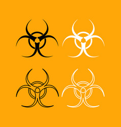 biological danger set black and white icon vector image