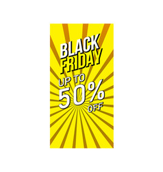 black friday sale banner with yellow stripes vector image