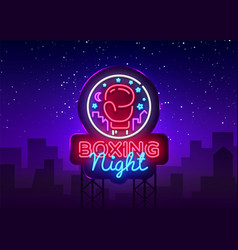 Boxing neon sign boxing night design vector