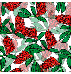 Branch with red flowers and green leaves seamless vector