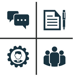 Business icons set collection of chatting leader vector