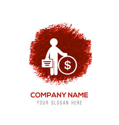 business man and dollar icon - red watercolor vector image