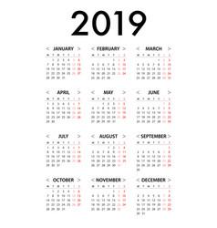 Calendar for 2019 week starts monday simple vector