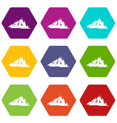 Canadian mountains icon set color hexahedron vector