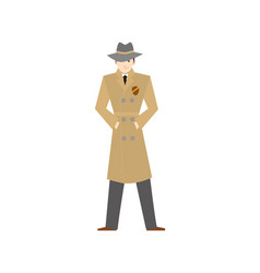 cartoon character private detective in hat vector image