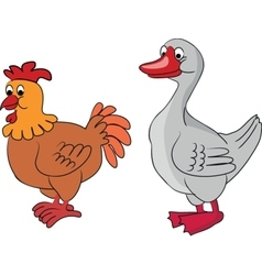 Cartoon goose and chicken vector image