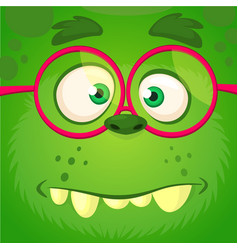 Cartoon monster face wearing eyeglasses vector
