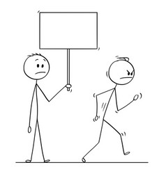 Cartoon of angry man leaving another man holding vector