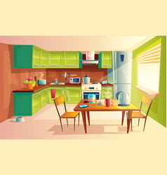Cartoon of kitchen interior vector