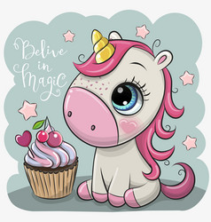 Cartoonl unicorn with cupcake on a blue background vector