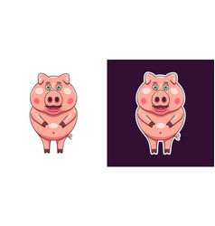 cheerful and smiling pig in flat style vector image