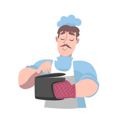 chef holding hot saucepan cook character in hat vector image