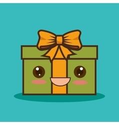 christmas gift character kawaii style vector image