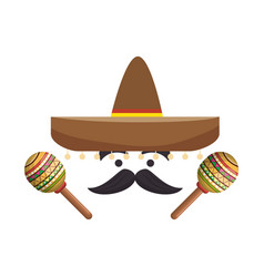colorful cartoon face with maraca and mexican hat vector image