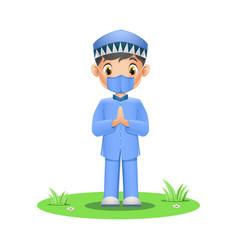 Cute muslim boy wearing face mask on grass vector