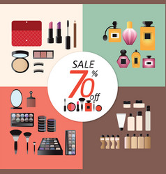 Discount sale makeup design concept set vector