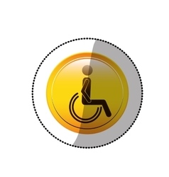Dotted sticker with person sitting wheelchair vector