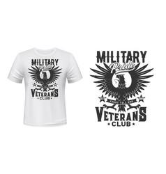 Eagle print t-shirt mockup military veterans club vector