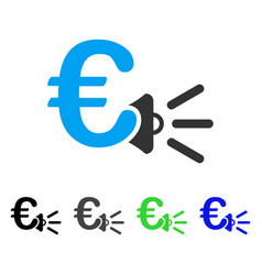 Euro ads megaphone flat icon vector
