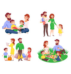 Family retro cartoon style set vector