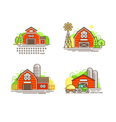 farming logo collection in line design farm barns vector image