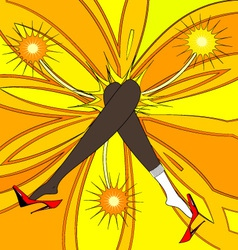 feet and yellow flower vector image