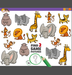Find two same animal characters game for children vector