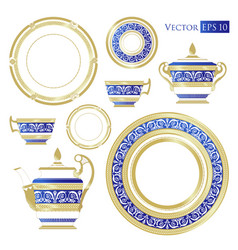 Fine china set of porcelain services vector