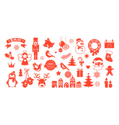 flat christmas icons element for patterns cards vector image