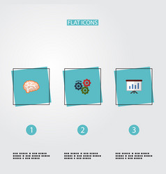 flat icons gear mind show and other vector image