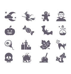 flat icons with traditional halloween symbols vector image