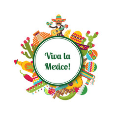 flat mexico attributes circle with place vector image