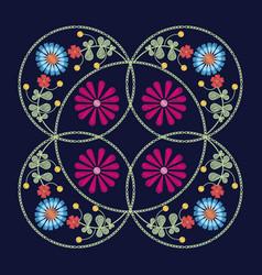 floral pattern over blue background vector image vector image