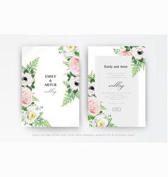 Floral wedding invitation invite save date card vector