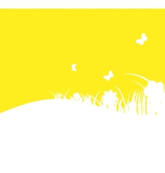 Flower and grass banner vector image