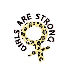 Gender simbol in leopard print t-shirt design vector