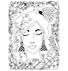 girl with flowers zentangl vector image