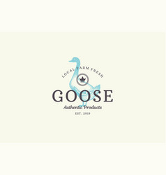 Hand drawn logo poultry goose silhouette and vector