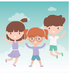 happy childrens day little girls and boy jumping vector image