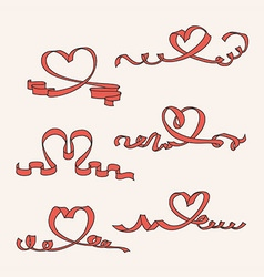 Heart ribbon set vector image