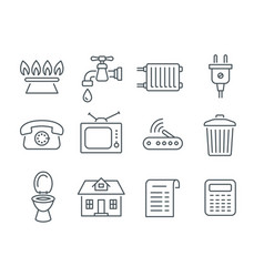 Household services utility payment bill line icons vector