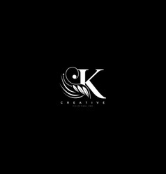 Initial k letter luxury beauty flourishes vector