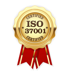 iso 37001 standard certified rosette vector image