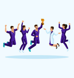 isometrics doctors jump happiness vector image