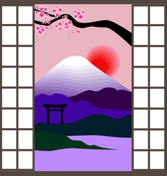 japanese window vector image