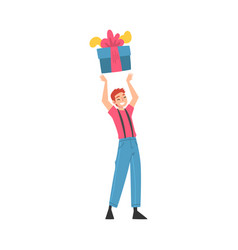 Joyful boy with gift box happy person with vector