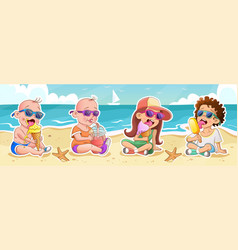 kids with ice cream and juice on beach vector image