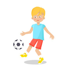 Little boy playing football on white background vector