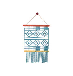 Macrame wall hanging made of blue cotton cord vector