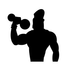 Man weight lifting bodybuilding sport pictogram vector